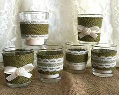 6 arpillera color turquesa y blanco encaje cubiertos por PinKyJubb