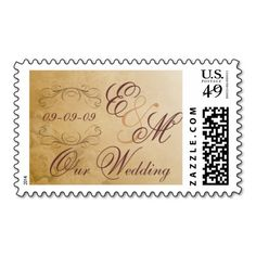 Wedding Postage - Antique Monogram. Make your own business card with this great design. All you need is to add your info to this template. Click the image to try it out!