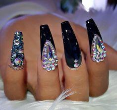 Black rhinestone crystal coffin nails