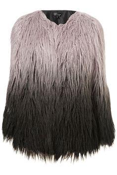 Topshop Ombre Faux Mongolian Fur Coat