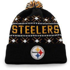 78d315692a4 Pittsburgh Steelers Black Brand Tip Off Pom Top Cuff Knit Hat. discount  snapback hats