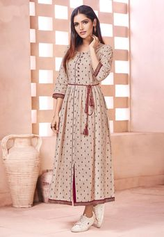 Buy online beautiful collection of party wear kurti and casual wear kurti. Shop this cotton beige print work party wear kurti. Kurti Designs Party Wear, Kurta Designs, Blouse Designs, Western Dresses For Women, Stylish Dresses For Girls, Western Outfits, Fancy Kurti, White Embroidered Dress, Dress Indian Style
