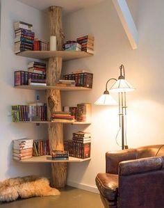 15 insanely creative bookshelves that you must see - .- 15 wahnsinnig kreative Bücherregale, die Sie sehen müssen – Regal-Bücherregal – Ideen von 15 insanely creative bookshelves you need to see – Shelf Bookshelf – Ideas of … - Creative Bookshelves, Bookshelf Ideas, Rustic Bookshelf, Corner Bookshelves, Shelving Ideas, Bookshelf Decorating, Bookshelf Design, Tree Bookshelf, Bedroom Bookshelf