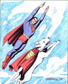 Superman and Krypto by Steve Rude.