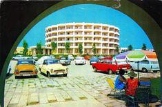 Romania - Mangalia [003] - 1971 - front   RetROmania #113  1971 postcard from Romania, Mangalia, featuring ŠKODA Felicia (x3!!!) + 1000MB (x5) + 100), VW Beetle / Käfer / Buburuzã, FIAT 850, TRABANT 601 Universal  & MOSKVITCH  / Москвич 426 Estate Fiat 850, Black Sea, Vw Beetles, Time Travel, Golden Age, Romania, Volkswagen, Cities, Europe