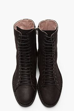 ANN DEMEULEMEESTER Black Pebbled Leather Nabuk Boots