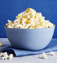 Super savory popcorn. Garlic, olive oil, parmesan cheese.