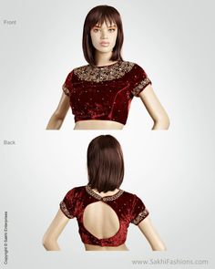 Maroon & Gold Pure Velvet Blouse in maharani style BLN-29882 Designer blouses available online @ SakhiFashions