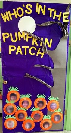 Great fall bulletin board decoration for the classroom! Here are a bunch of fun fall door decorations for the classroom! You will find pumpkins, halloween, thanksgiving, apples, and more ideas! Halloween Classroom Door, Halloween Bulletin Boards, Fall Bulletin Boards, Preschool Bulletin Boards, Fall Boards, Thanksgiving Classroom Door, November Bulletin Boards, Classroom Board, Thanksgiving Crafts