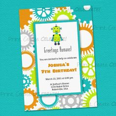 robot party invites