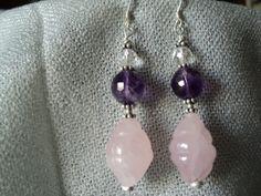 Rose Quartz/ Amethyst Earrings  Orecchini di FavolediPietra, €18.00