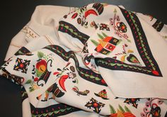 Vintage 1980s Pennsylvania Dutch Linen Tablecloth Red Green Black Figural Signed by AstridsPastTimes on Etsy https://www.etsy.com/listing/233166868/vintage-1980s-pennsylvania-dutch-linen