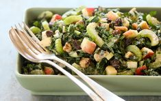This variation on the classic Waldorf salad uses kale instead of lettuce and adds apple and walnuts to the dressing for a creamy consistency without using the typical mayonnaise base. Vegan.