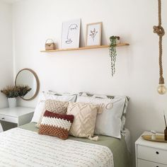 Shelving Over Bed, Room Design Bedroom, Bedroom Decor, Shabby Chic Apartment, Home Decor Shelves, Boho Room, Home Decor Inspiration, Decoration, Simple Rooms