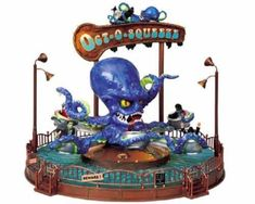 Lemax Spooky Town The Oct-O-Squeeze with Adaptor # The Oct-O-Squeeze with Adaptor Item # 84800 Features Include: Porcelain lighted ride As the ride begins, octopus and cars revolve on base As ride continues, cars rise from base, rising an Halloween Train, Halloween Village, Halloween Carnival, Halloween House, Halloween Themes, Vintage Halloween, Halloween Diy, Halloween Decorations, Halloween Stuff