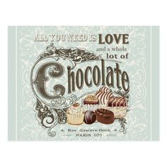 modern vintage french chocolates postcard #Ad , #spon, #french#chocolates#postcard#Shop
