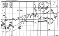 The route taken by the 1003 B-17 crews on a mission to Berlin on 3 February 1945, out across Europe, back over the North Sea.