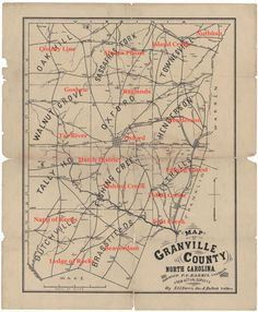 Approximate locations of Granville County's Districts that were included in the 1820 census. Please note that the names and boundaries of districts have changed quite a bit over the years, so what you see here is my best reflection of where these districts were located in 18820. Source: http://dc.lib.unc.edu/cdm/singleitem/collection/ncmaps/id/654/rec/14