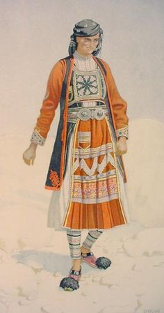 NICOLAS SPERLING - Peasant Woman 's Costume (Epirus, Souli) 1930 lithograph on paper after original watercolour Greek Traditional Dress, Traditional Outfits, Greece Costume, Ancient Greek Costumes, Greek Culture, Costume Collection, Greek Art, Period Outfit, Greek Clothing