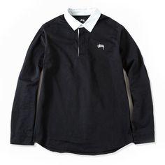 Stussy: Twill Rugby Shirt - Black