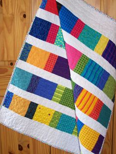 "Baby Toddler Quilt ""Tumbling Blocks"" in Bright Colors Myra Barnes Busy Hands Quilts. $59,00, via Etsy."