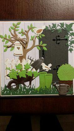 card garden tools watering can wateringcan boots rubber rain wheelbarrow, plants plant pot grass tree door - Zomerkaart 3d Cards, Cute Cards, Marianne Design Cards, Pop Up, Window Cards, Kids Scrapbook, Heartfelt Creations, Gras, Masculine Cards