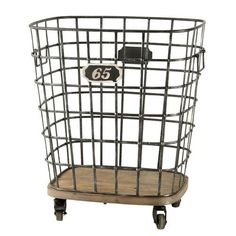 Look for quirky storage solutions that combine metal and wood. This industrial style basket on wheels is fab for storing firewood Metal Industrial, Industrial Storage, Industrial Style, Room Wall Tiles, Cheap Baths, Bad Set, Cheap Bedroom Furniture, Warehouse Design, Wood Basket