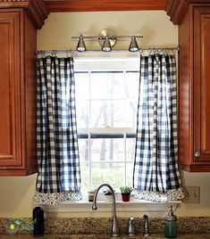 Now is a great time to check out thrift stores! Black & white buffalo check kitchen curtains remade from drapes from Goodwill
