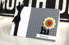 {Hello Flower} card  Stamps - Flower Fusion #10, Glory Be, Background Basics: Circles  Ink - True Black, Fresh Snow, Summer Sun (SU)  Cardstock - White, Smokey Shadow  Die - Flower Fusion #10, Love Lives Here, Double-ended Banner  Other - Pure Poppy felt, True Black ribbon