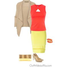 Hot coral pink is a statement color for a tinted spring. I don't normally recommend such a bright color for a tinted spring, but hot coral can definitely be pulled off. I paired this color with a warm yellow skirt. If you're feeling a little too bright, try calming the look down with a bei