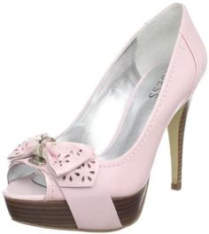 "Guess Women's Chappel Peep-Toe Pump,Light Pink Leather,8 M US. Available Online and in Select Stores Only! Get a touch of pin-up girl fashion with these luxe heels. Eyelet detailed bows at vamp. Peeptoe design with platform base. 4 ½"" high heel 1"" platform Material: Leather Women's Shoes > Platforms"