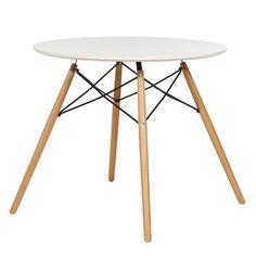 Mesa redonda auxiliar color blanco con patas naturales #mesa #decorebajas #rebajas #decoracion #deco