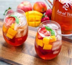 Iced Tea Sangria (4 cups fresh brewed iced tea 2 cups white wine 1 cup  simple syrup 2 cups strawberries, nectarines and mangoes)