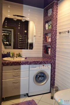 Интерьер ванной, столешница из бетона, столешница в ванной мозаика