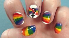 Gay Pride nails inspired by the rainbow flag! Tutorial - http://youtu.be/A_6MHw06P4E #gaypride #nailart #arcadianailart
