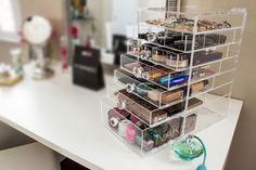Clear Acrylic Makeup Organizer Diamond Handles Kardashian Style Jewelry Storage #TwinLilies