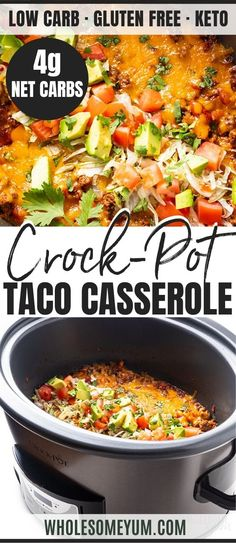 This Keto Taco Casserole recipe contains the best of both worlds all in one dish: Slow cooked flavor thanks to Crock-Pot ( plus fresh and flavorful toppings. It takes just five minutes to prep and tallies up to 4 net carbs so you can enjoy taco Keto Crockpot Recipes, Slow Cooker Recipes, Diet Recipes, Cooking Recipes, Healthy Crock Pot Meals, Casserole Recipes Crockpot, Casserole Crock Pot, Simple Crock Pot Recipes, Crock Pot Dinners