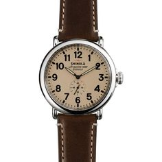 Shinola The Runwell Dark Coffee & Cream Dial Watch, 47mm ($550) ❤ liked on Polyvore featuring jewelry, watches, accessories, bracelets, dark jewelry, cream jewelry, coffee jewelry and dial watches