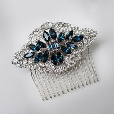 crystal rhinestone art deco hair comb with sapphire marquis center stones. #bridal hair comb