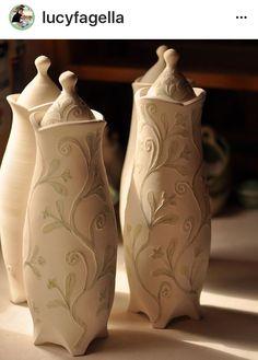 Lucy Fagella  |  Lidded vine pitchers (coffee jugs??).
