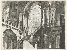 Scipione Daretti | Gebouw met rondbogen en zuilen, Scipione Daretti, 1771 - 1781 | Fantasiearchitectuur bestaande uit twee verdiepingen met tongewelven en corintische zuilen. Prent uit een serie van twaalf met voorbeelden voor theaterdecors.