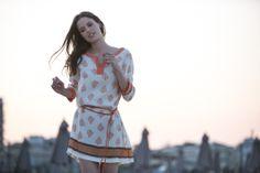 Orange printed silk dress  #Purotatto image by me #michelazucchini