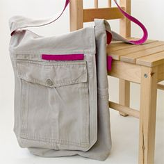 Step by step photo tutorial how to transform your favorite cargo pants to a messenger bag.