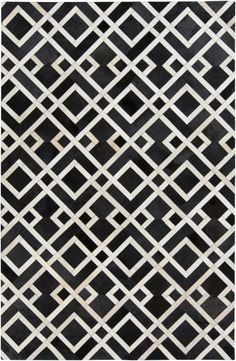 Trail Black Ivory Hair On Hide Area Rug - 60 x 96