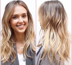 See How Jessica Alba Has Transformed Her Hair From Brunette To Blonde With A… Blond Ombre, Ombre Hair, Brunette Hair, Blonde Hair, Brunette Highlights, Balayage Highlights, Diy Beauté, Hair Color And Cut, Great Hair