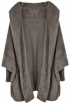 Khaki Hooded Batwing Long Sleeve Loose Coat