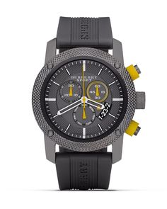 Burberry 3-Eye Chrono Watch With Grey Rubber Strap, 44mm | Bloomingdale's