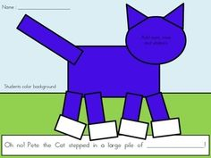 FREE Pete the Cat Template for Pete the Cat I Love My New White Shoes.