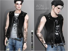 Pralinesims' Aon Leather Vest The Sims 4 Pc, Sims Four, Sims 4 Cas, Sims Cc, Sims 4 Male Clothes, Sims 4 Clothing, Free Clothes, Male Clothing, Clothing Sets
