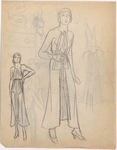 Création:  Madeleine Vionnet , attribué à, maison de couture, 20e siècle (milieu) Martiale Constantini , modéliste, dessinateur,